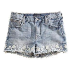 Lucky Brand flower embroidered jean shorts cutoffs